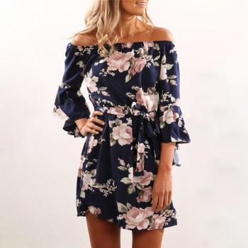 Women's Flare Sleeves Off-shoulder Floral Dress