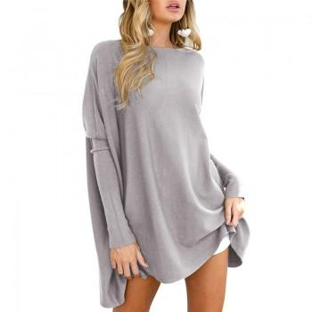 Pretty Solid Batwing Sleeve T-shirt for Women