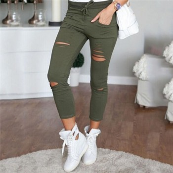 Women's Trendy Solid Ripped Ankle Pants
