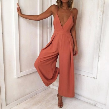 Sexy V-neck Solid Slip Jumpsuit for Women
