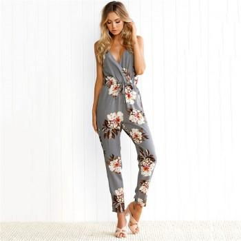 Sexy Floral Slip Jumpsuit in Grey for Women