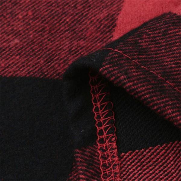 Casual Plaid Crop Sleeves Tee