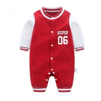 Sporty Color-blocking SUPER Print Long-sleeve Jumpsuit for Baby Boy