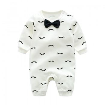 Gentle Mustache Print Bow Tie Long-sleeve Jumpsuit for Baby Boy