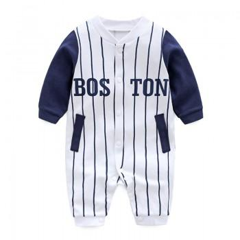 Handsome Boston Print Long-sleeve Sport Style Jumpsuit for Baby Boys