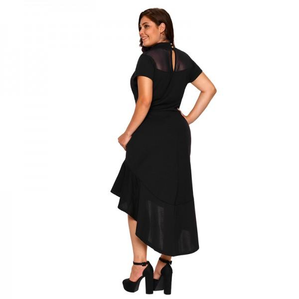 Sexy Solid Frill Hem Short Sleeves Plus Size Dress For Women Patpat