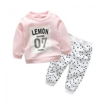 2-piece Long Sleeves Letter Top and Star Pattern Pants Set for Toddler Girl