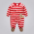 Snappy Reindeer Embroidered Antler Applique Striped Footed Jumpsuit
