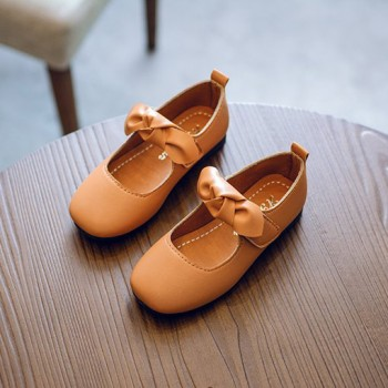 Elegant Solid Bow Decor PU Leather Velcro Shoes for Toddler Girl and Girl