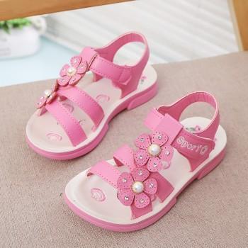 + Pretty Solid Rhinestone and Pearl Decor Velcro Sandals for Girl