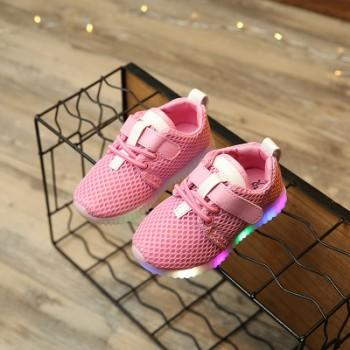 Pretty LED Velcro Mesh Shoes for Toddler Girl and Girl