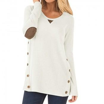 Sassy Patched Solid Long-sleeve Tee