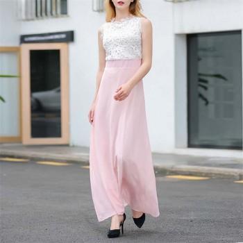 Trendy Color Blocked Sleeveless Maxi Dress