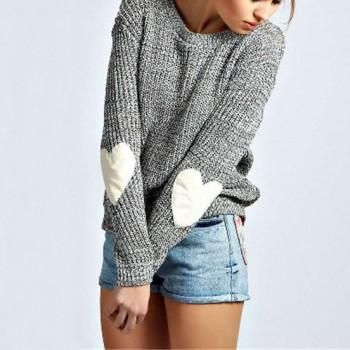 Heart Appliqued Long-sleeve Sweater