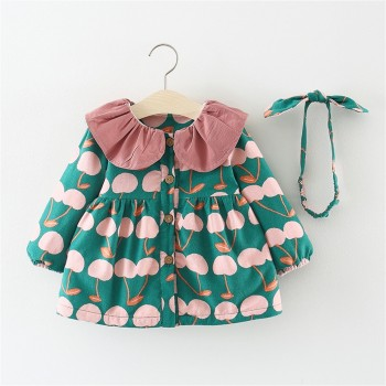 2-piece Supper Cute Cherry Patterned Coat and Headband for Baby