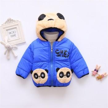 Stylish Panda Design Fleece-lining Long-sleeve Hooded Coat for Baby