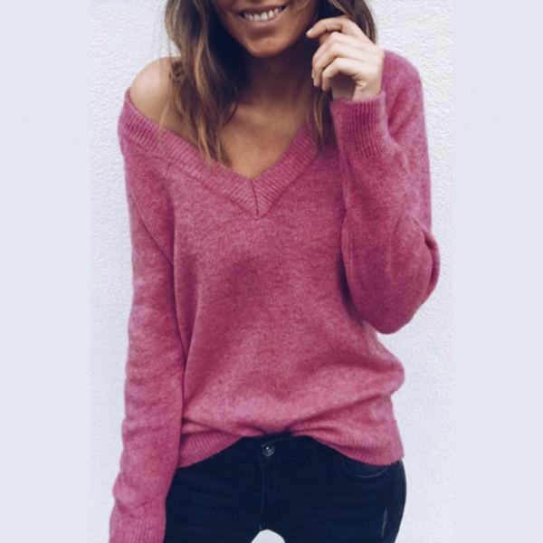 Chic Solid Long-sleeve Sweater