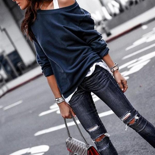 Fashionable Cold Shoulder Long-sleeve Top