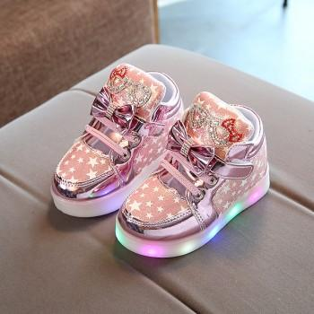 Pretty Bow and Rhinestone Decor LED Velcro Shoes for Toddler Girl and Girl