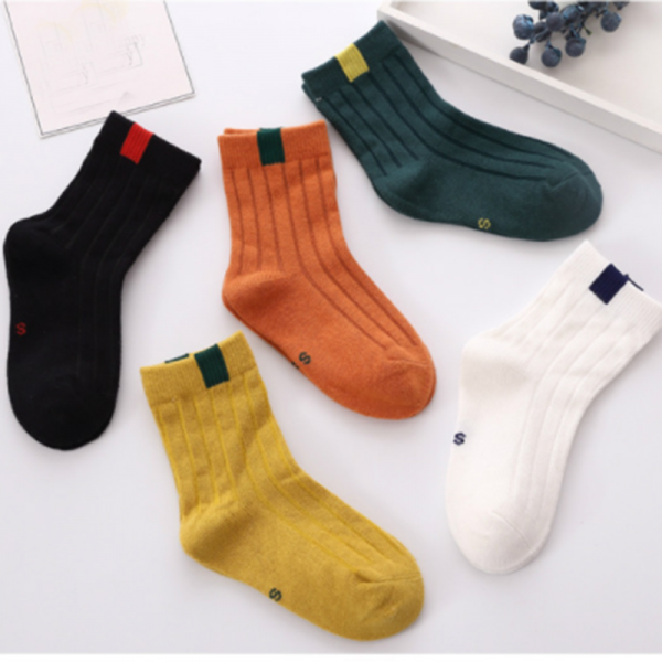 5-pairs Simple Striped Detail Cotton Socks Set for Boy