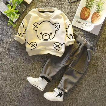 2-piece Casual Bear Patterned Long-sleeve Top and Pants Set