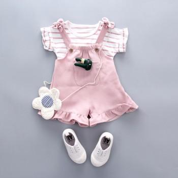 2-piece Lovely Striped Tee and Bow Decor Overalls for Toddler Girls