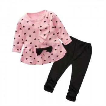 Lovely Heart Print Ruffled Bow Decor Long-sleeve T-shirt and Pants Set for Baby and Toddler Girl