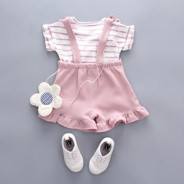 2-piece Cute Striped Top and Ruffle-cuffs Overalls for Baby Girl