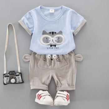 2-piece Cat Applique T-shirt and 3D Ear Decor Shorts Set for Baby and Toddler Boy