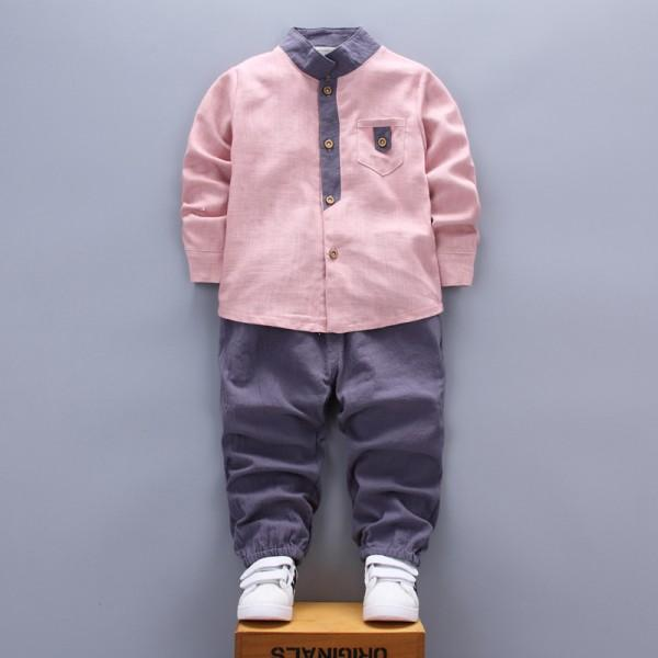 Casual Pocket Design Long-sleeve Shirt and Pants Set for Baby Boy