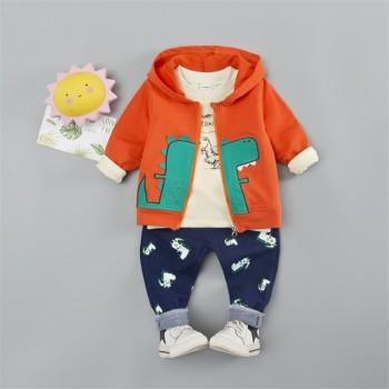 3-piece Lovely Dino Print Top Appliqued Coat and Pants Set for Baby and Toddler