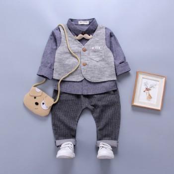 3-piece Trendy Beard Design Long-sleeve Shirt, Vest and Pants Set for Baby Boy