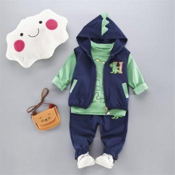 Trendy Dinosaur Print Long-sleeve Top, Vest and Pants Set for Baby Boy