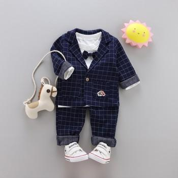 3-piece Handsome Bow Tie Decor Top, Plaid Coat and Pants Set for Baby Boy