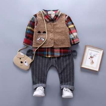 3-piece Stylish Plaid Long-sleeve Shirt, Vest and Striped Pants Set for Baby Boy