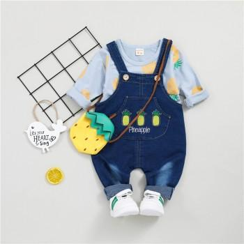 Casual Pineapple Patterned Long-sleeve Top and Denim Suspender Pants Set for Baby