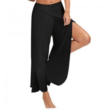 Stylish Solid Loose Slit Yoga Pants