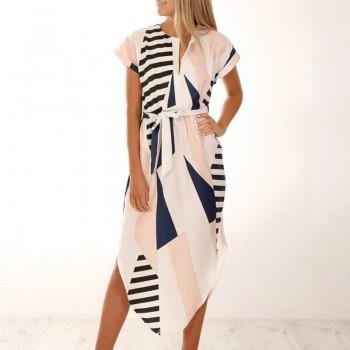 Stylish Graphic Print Irregular Hem V-neck Short Sleeves Dress with Belt