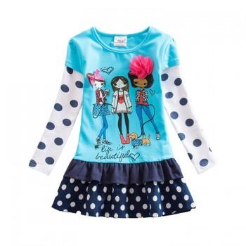 Stylish Faux-two Girl Print Polka Dotted Long Sleeves Dress
