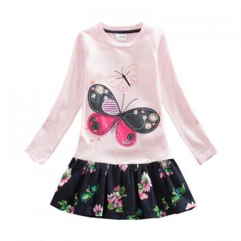 Pretty Butterfly Applique Long-sleeve Dress for Baby Girl and Girl
