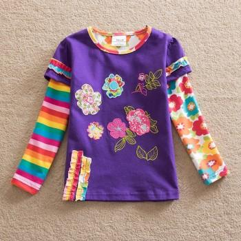 Faux-two Super Lovely Floral Flower Applique Top for Baby