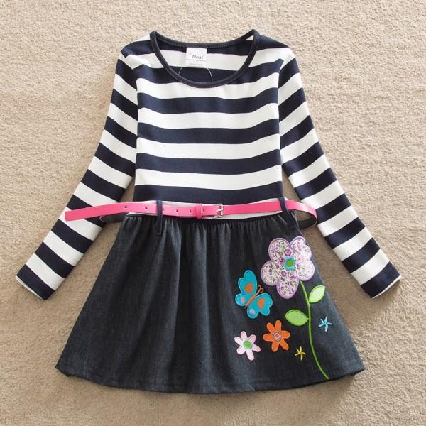 Pretty Flower Applique Pattern Stripe Splice Belt Decor Long-sleeve Dress