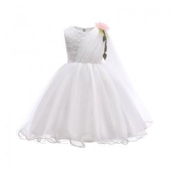 Elegant 3D Floral Decor Sleeveless A-line Wedding Dress for Girls