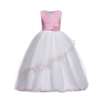 Chic Flower-accent Ruffle Tulle Wedding Dress for Girls