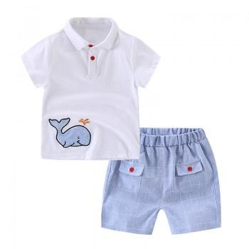 2-piece Cool Whale Applique Short Sleeves Tee and Plaid Shorts for Boys