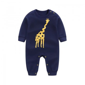 Adorable Giraffe Print Long-sleeve Jumpsuit for Baby Boy