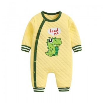 Lovely Dinosaur Print Long-sleeve Jumpsuit in Yellow Jumpsuit for Baby Boy