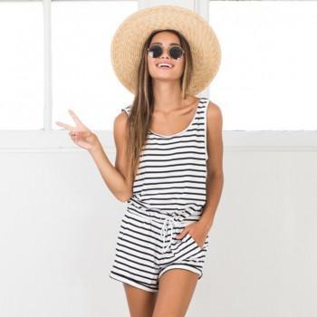 Chic Striped Sleeveless Romper