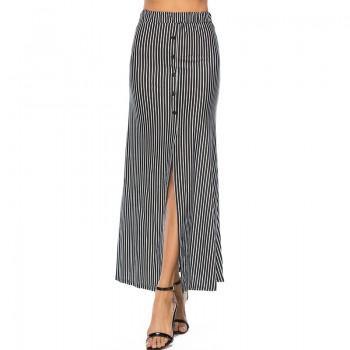 Trendy Stripe Split Skirt