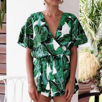 Trendy Leaf Allover Short-sleeve Romper